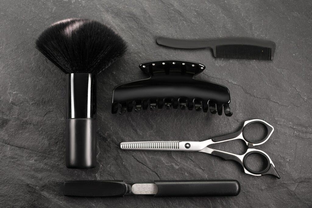 Set for stylist on black stone, black Friday